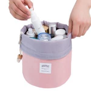 trousse de toilette baril rose plein 01